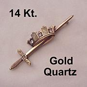 14 Kt. Rose Gold, Diamond and Gold Quartz Pin - Circa 1880