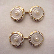 14Kt. Gold, Enamel and Mother of Pearl Cuff Links - Circa 1910