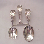 "Shepard Mfg. Co. ""Little Miss Muffet"" 3 Pc. Baby Flatware Set - Circa 1920"