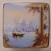 German Scenic Enamel & Glass Vanity Box