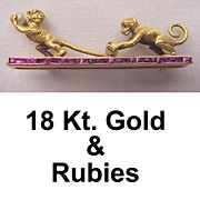 Fabulous 18kt. Gold, Ruby & Cultured Pearl Pin of Playing Monkeys
