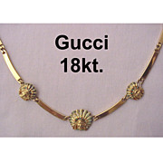 Gucci 18Kt. Gold Necklace With Enamel Accented Indian Heads