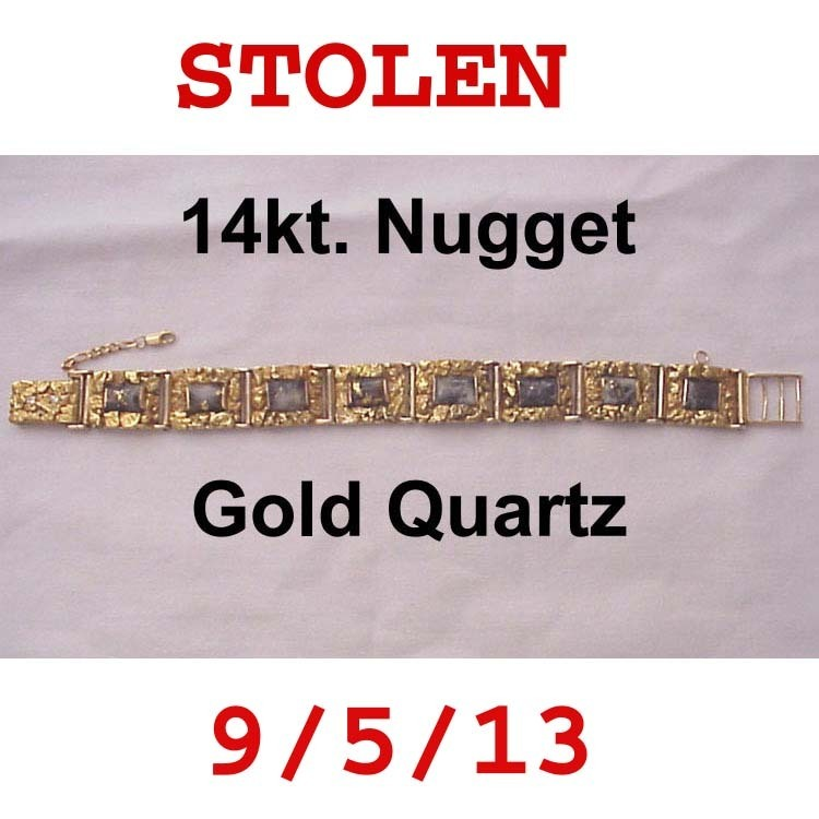 Man's 14kt., Gold Nugget & Gold Quartz Bracelet