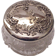 Wm. B. Kerr & Co. Sterling Art Nouveau Floral & Cut Glass Dresser Jar - Circa 1905
