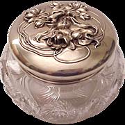 Wm. B. Kerr & Co. Sterling Art Nouveau & Cut Glass Dresser Jar - Circa 1905