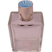 English Sterling, Guilloche Enamel & Glass Cologne Travel Bottle - Date Mark 1937