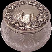 F & B Art Nouveau Sterling and Cut Glass Dresser Jar - Circa 1905