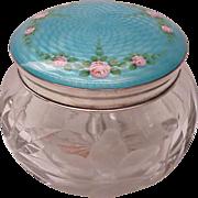 Sterling Guilloche Enamel & Floral Motif Glass Dresser Jar - Circa 1925