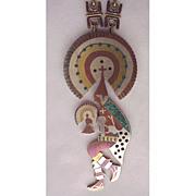 Los Castillo Mixed Metal & Inlay Necklace Circa 1960