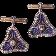 14Kt. Gold, Silver, Guilloche Enamel and Diamond Cuff Links / Cufflinks
