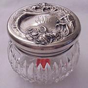 "Unger Bros ""Secret Of The Flowers"" Sterling & Cut Glass Dresser Jar - Circa 1905"