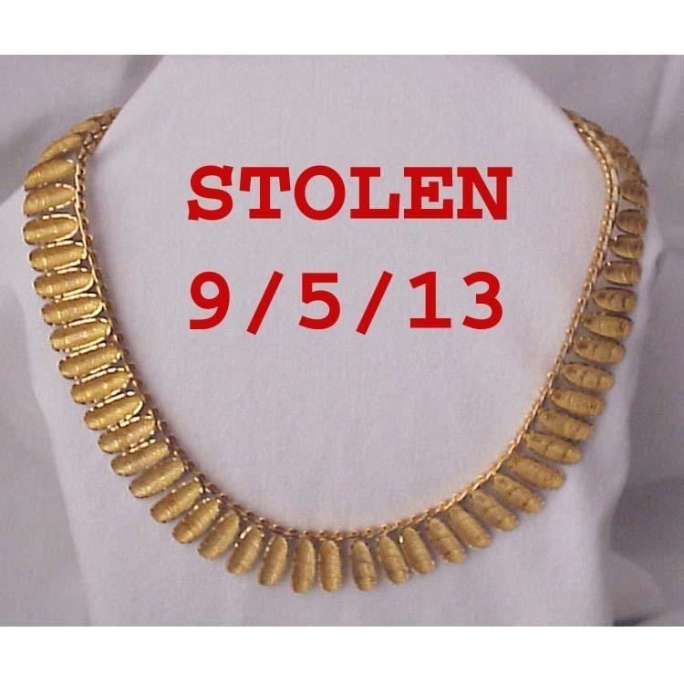 Handmade 14Kt. Gold Collar Style Necklace - Circa 1960