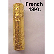 Beautiful 18 KT Gold French Art Nouveau Perfume Bottle -  Circa 1900