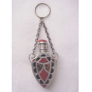English Sterling and Hardstone Scent Bottle - Date Mark Chester 1889
