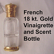 French 18 kt. Two Color Gold Scent and Vinaigrette Bottle - Circa 1875