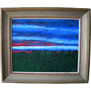 1930's Glorious Red Sky at Night Horizon Landscape Oil on Canvas Board