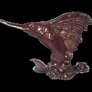 1942 Royal Haeger by Royal Hickman Green Briar drip glaze Sail Fish Vase