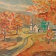 Listed American W. Earl Rowland Landscape Watercolor