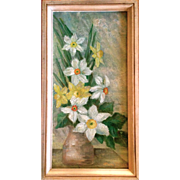 Still Life of Spring Daffodils Oil on Canvas by Mary Gine Riley