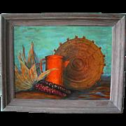 "Native American Glenn Jones Still Life of a Basket, Orange Pitcher, and Indian Corn titled ""Harvest Time"""