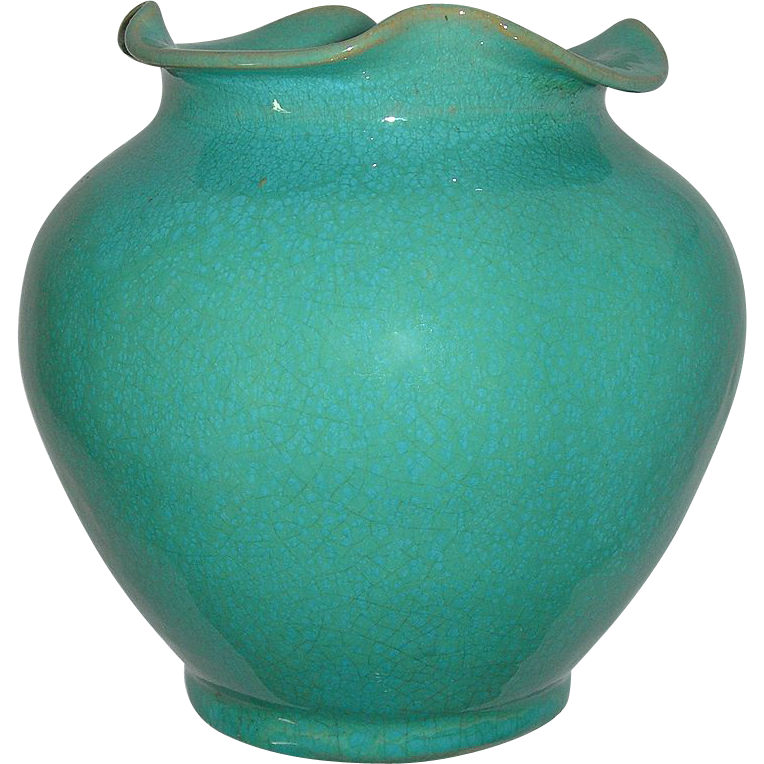 Rare North Carolina Royal Crown Pottery & Porcelain Company Aqua Blue Vase With Ruffled Lip