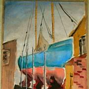 Vintage Watercolor Seascape Titled Glouster Signed Norris Post