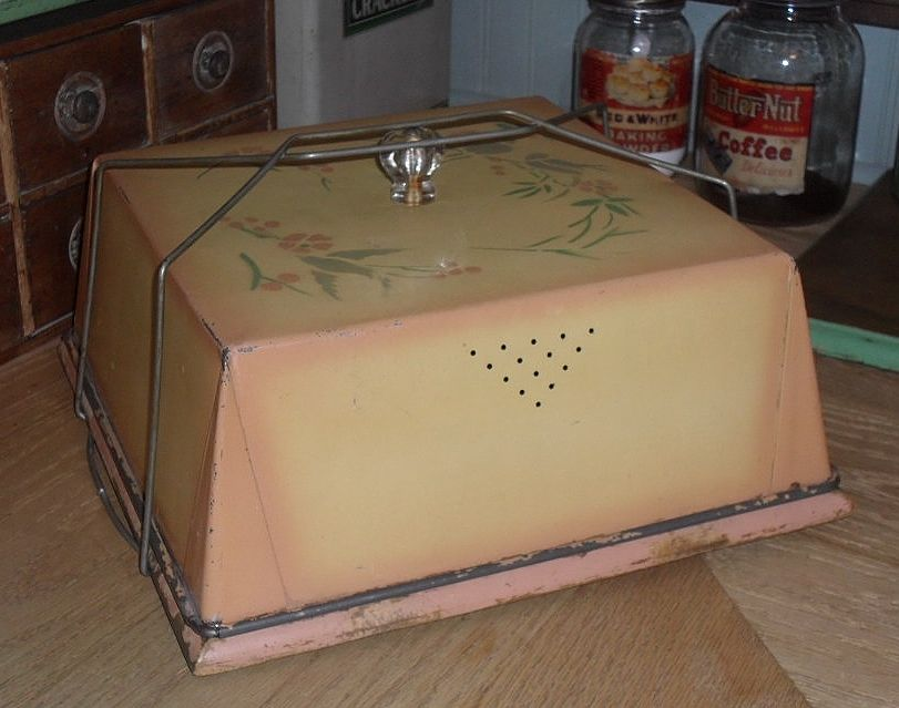 Cake Saver - Tin Cover & Wooden Board - Glass Knob - c 1910