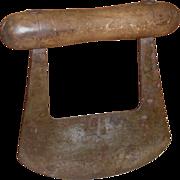 c 1880  Steel & Wood Kitchen Chopper - Hand Forged