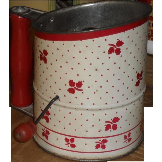 1940s Tin Flour Sifter - Red & White Tea Leaf Design