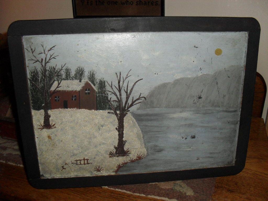 1890s School House Slate / Black Board - Snow Scene Painting