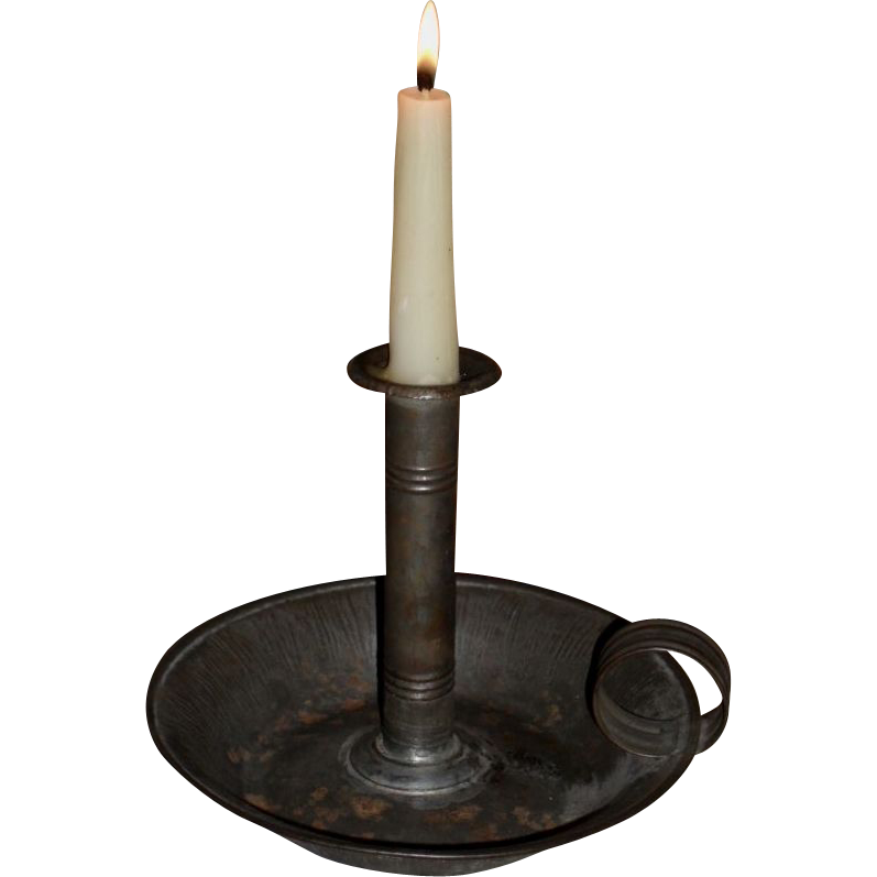 Tin Push-up Hog Scraper Deep Pan Candlestick - 19th C.