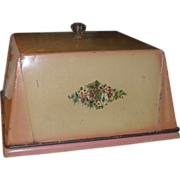 c 1910 Tin Cover & Bread Board - Pink & Cream - Glass Knob