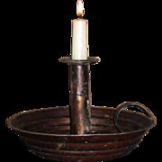 Tin Push-up Hog Scraper Deep Pan Japanned Candle Holder - 19th C.