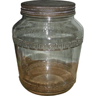 Large Pantry Jar Canister - Tin Lid - 1930s Anchor Hocking
