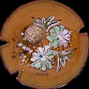 Sascha Brastoff Mid Century Enamel on Copper Ashtray Floral Design