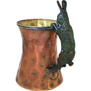 Joseph Heinrichs Arts and Crafts Hammered Copper and Silver Tankard Rabbit Handle