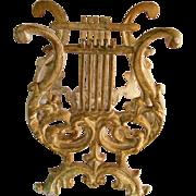 Magazine Rack Figural Cast Metal Lyre Harp