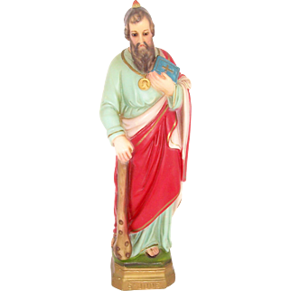 SALE 50% OFF   Chalkware Religious Statue Catholic Icon St. Jude Figurine