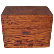 Oak Wood Box Card File Recipes Dovetailed Wood Library Index WEIS