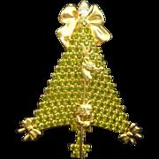 ANTHONY ATTRUIA Peridot Rhinestone Kitten & Bows Christmas Tree Pin