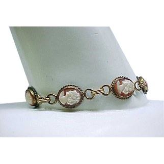 02 - Cameo Bracelet - Gold Filled with 6 Shell Cameos