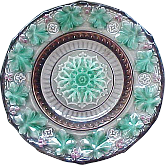 03 - Majolica Footed Plate - Possibly Etruscan - Holly Leaves, Berries
