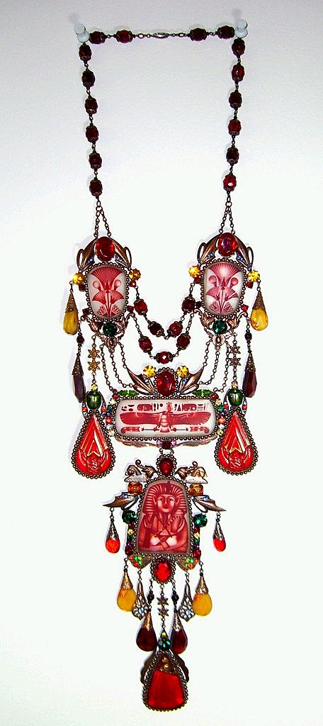 Czech SBK Egyptian Revival Necklace with Pharaoh Image Pendant