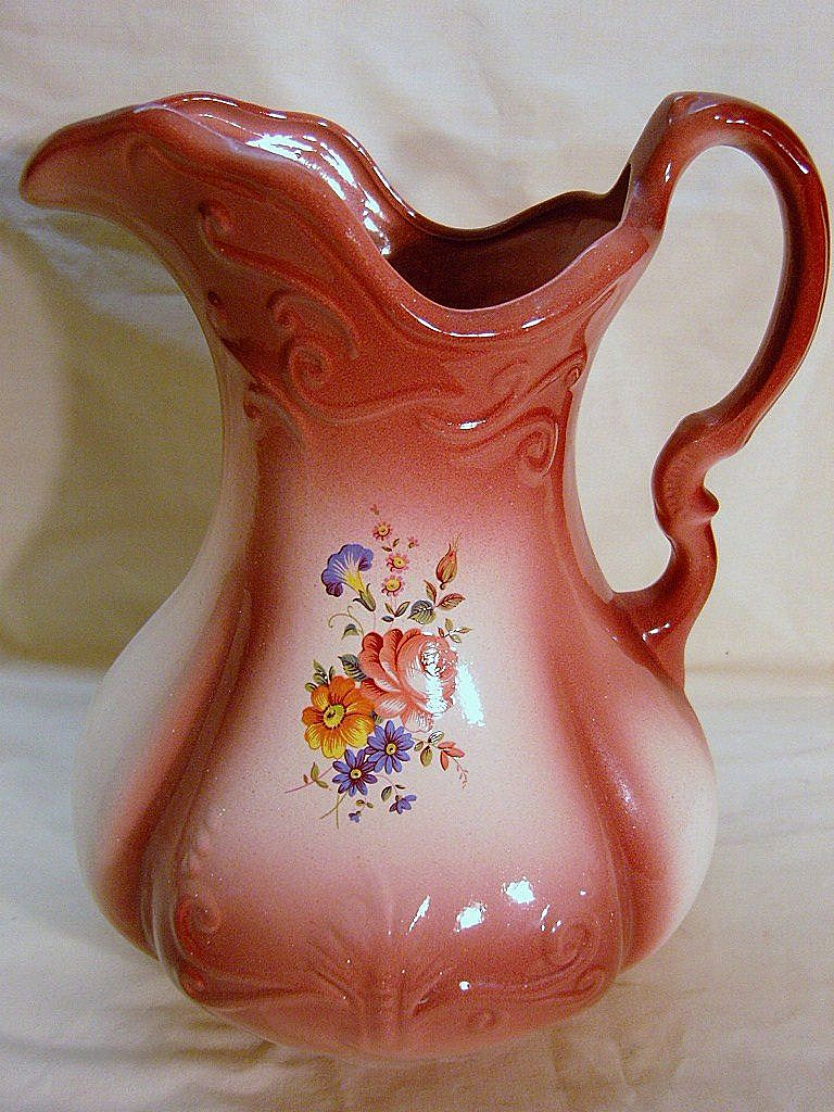 Large Ironstone England Pitcher 1890