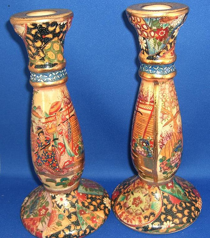 Pair of Hand Painted Satsuma Candlesticks