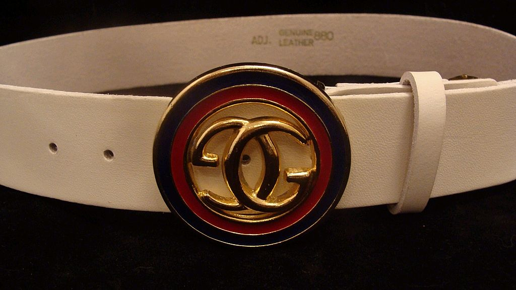 White Leather Gucci Designer Logo Belt