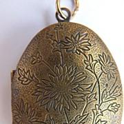 Brass Locket  Art Nouveau Design