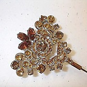 Topaz and Amber Color Long Victorian Hat Pin
