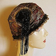 Metallic Lame' 1920's Style Cloche Hat Red, Gold and Black