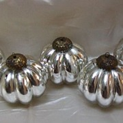 Set of Five Melon-shaped Mercury Glass Christmas Ornaments